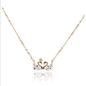 925 rose  gold mini double swan crystal necklace